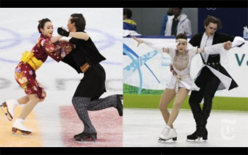 Cathy and Chris Reed competing for Japan (left). Allison Reed and Otar Japaridze represent Georgia with a routine based on the country's folk dancing (right).